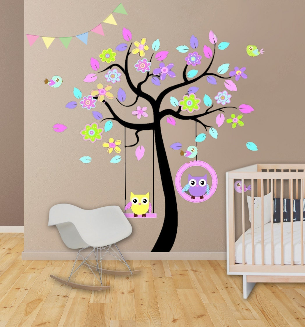Large kids decor kids wall decal kids wall decor owl tree for Baby girl nursery mural