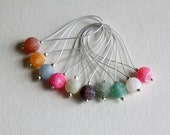 Snag-free agate stitch markers - set of 10