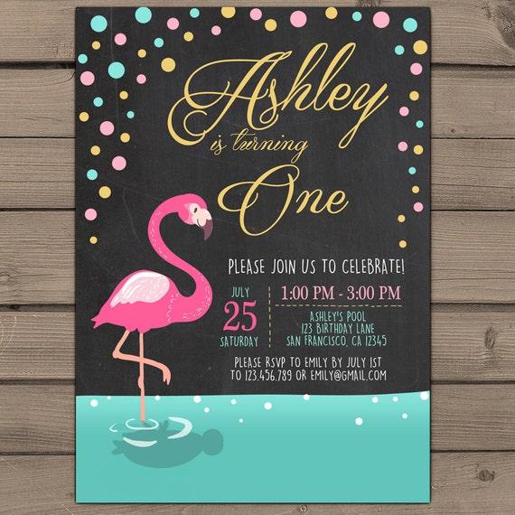 Flamingo Party Invitation Flamingo Birthday Invitation