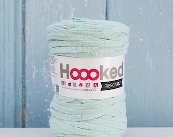Pastel Green  Ribbon XL Yarn, Cotton Yarn XL, Recycled Cotton Yarn, Knitting, Crochet, green yarn