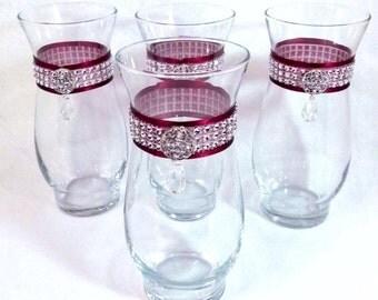 Wedding Vases Custom Set of 4 Rhinestone Vases Choose Colors Jeweled Wedding Centerpiece Crystal Vase Bling Wedding Bouque Vase Shower Decor