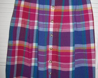 Vintage Talbot's Plaid Cotton Summer Skirt  Find Size 8P Elastic back -belt