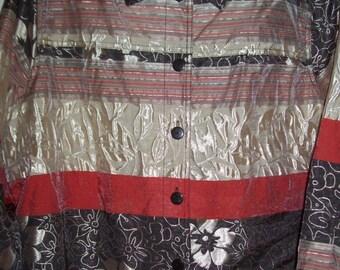 Vintage Erin of London Multi-Color Stripe Silky Jacket 1 X Beiges, browns, oranges.
