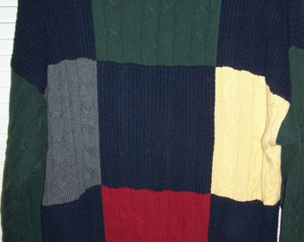 Sweater Large, 80's, Vintage Nautica Men's Cotton Pullover Sweater Now into Fall  -Size Large