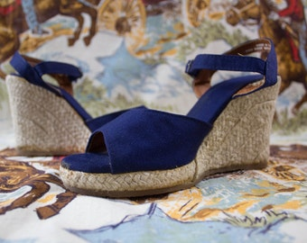Vintage 1970s Royal Blue Twine Wedges High Heel Sandals