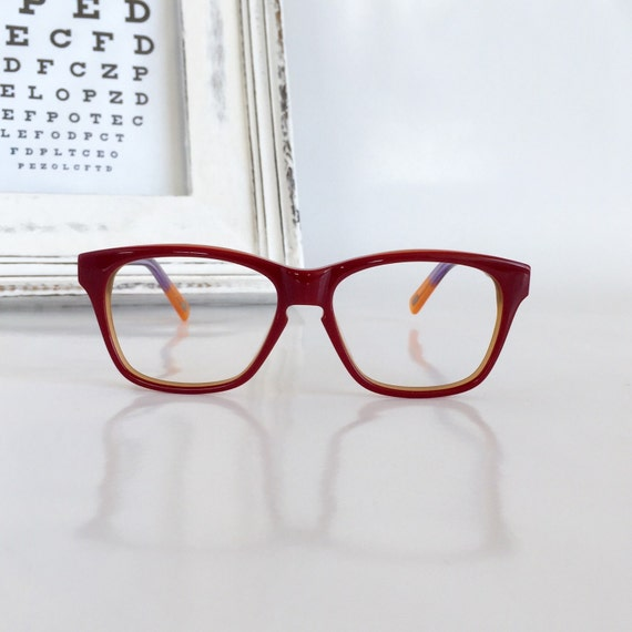 Eyeglass Frames For Narrow Bridge : Small wayfarer eye glasses Keyhole nose bridge Red/ by ...