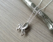 Sterling Silver Pegasus Necklace, Mythical Creatures, Pegasus Jewelry