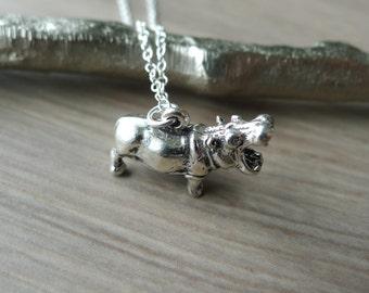 Hippo Necklace, Hippopotamus Necklace, Sterling Silver, 3D Hippo, Tiny Hippo, Little Hippo, Nile Animal, Nile River, Hippopotamus Jewelry