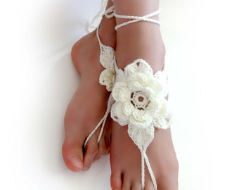 Floral Crochet Barefoot Sandals. Ivory or 27 colors. Woman's Crochet 3D Flower Foot Jewelry. Long Ties. Beach Wedding Accessory. Set of 2