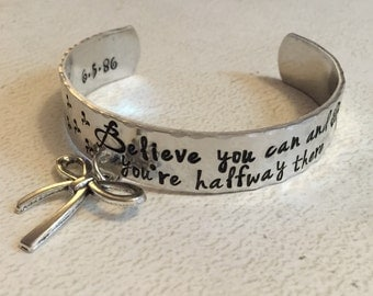 Inspirational bracelet - Hand Stamped cuff bracelet - Believe in yourself - Personalized hand stamped jewelry - Believe you can jewelry -