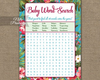 Luau Baby Shower Word Search Game - Hawaiian Baby Shower Game - Neutral Tropical Flowers Baby Shower - Printable Instant Download TRP