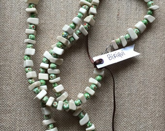 THE BIRIGUI NECKLACE - harmony.small square bones.mottled wood beads in green and white color.timeless.wearable art necklace.