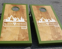 Wedding Cornhole Board Decals: Set of Two Custom Mountain and Banner Decals