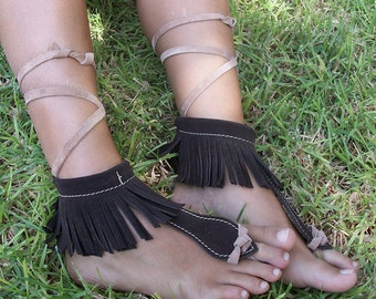 Barefoot sandals, leather sandals, brown Moccasins, handmade sandals, soleless, sandals, native american, upcycled leather, bohemian sandals