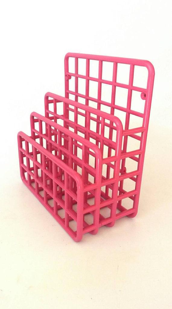 Hot pink desk organizer 1980 39 s mail holder office sorter - Pink desk organizer ...