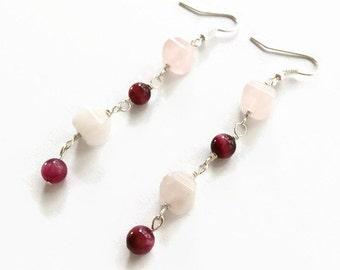 Rose Quartz Drop Earrings, Pink Gemstone Dangle Earrings, Pink Cat's Eye Dangle Earrings, Pink Earrings, Pink Beaded Earrings (E222)