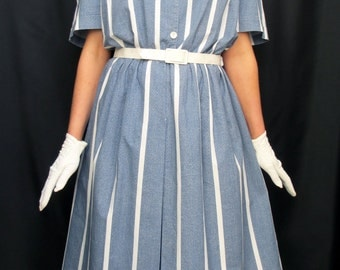 Vintage 80's Blue and White Cotton Shirt waist Dress 50's Style Size Uk 20 Large