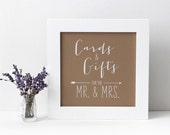Wedding Cards and Gifts Table Sign for Mr. & Mrs., Chalkboard or Rustic Kraft Style [S27]