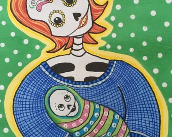 Mom and Baby Newborn Day of the Dead Card