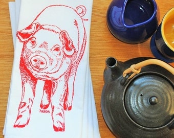 Cloth Napkins - Screen Printed Cotton - Red Pig Napkins - Washable Reusable - Perfect for Wedding Gifts