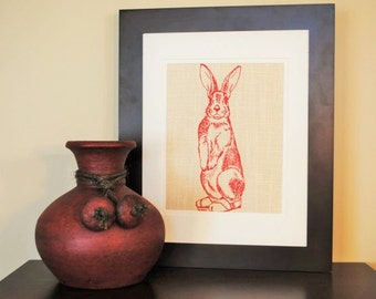 Kitchen Wall Decor - Wall Art Animals - Art for Nursery - Red Rabbit Wall Print - Wedding Registry Gift - Birthday Gift