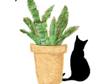 ALOE PLANT.A black cat  is sitting next to an Aloe plant in a pot ...one fly buzzes by .Printed card from collage original.