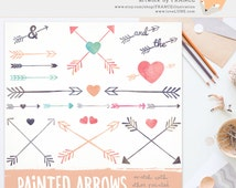 Arrow Clipart. Painted Watercolor Clipart. Hearts and Arrows. Watercolour Arrows. Cute Hand Drawn Bright Transparent BG Digital Clipped Art.