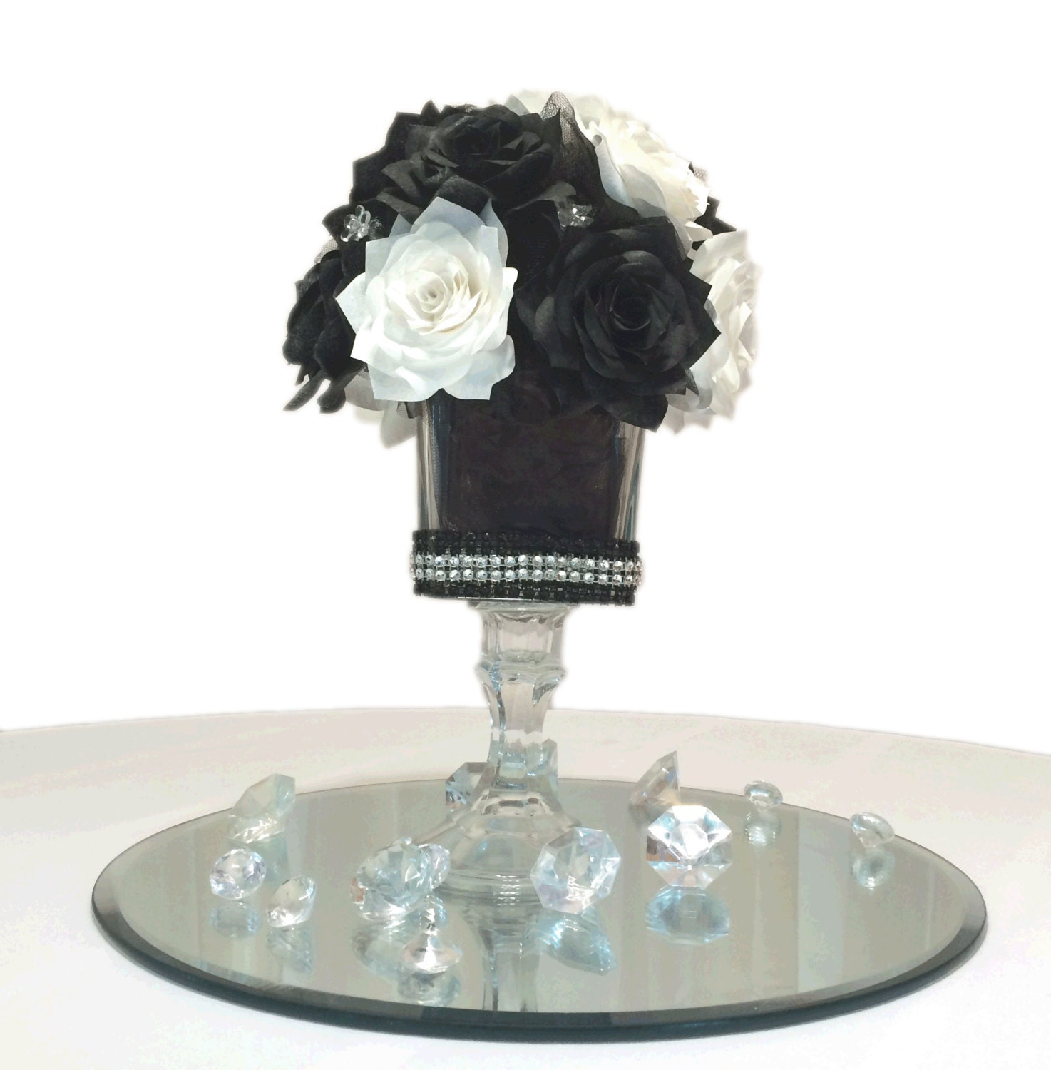 Black And White Table Centerpiece Paper Floral By CENTERTWINE