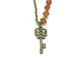 Key  Necklace Asymetrical  Necklace  Key  Jewelry  Asymetrical Jewelry  Key Pendant  Necklace Dark Amber Glass Beads