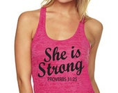 She Is Strong Proverbs 31:25. Christian Tank Top. Christian Shirt. Weight Lifting. Motivational Fitness. Workout Tank. Elle Est Forte. Gym