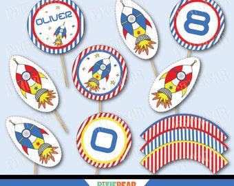 Rocket Cake Toppers - Space Birthday Cupcake Topper - Rocket Party - Astronaut Party - Space Party - Rocket Birthday -Outer Space (Download)