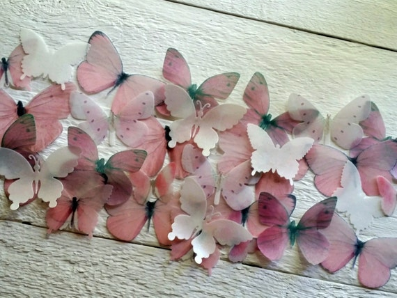Edible Butterfly Pastel Pink and White  Cake decorations Cupcake toppers Set of 30