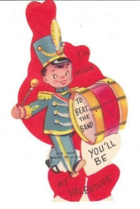 This Die Cut Vintage Valentine Card For A Child Features A Little Boy  Playing A Big Drum In A Marching Band.