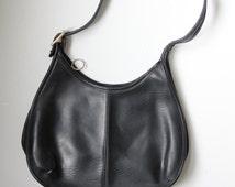 Vintage Black Leather Coach Hobo Bag | Designer Coach Back Shoulder Bag | Vintage Coach Black Tote