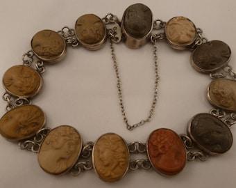 Antique Victorian Silver Lava Cameos Bracelet. 1900's