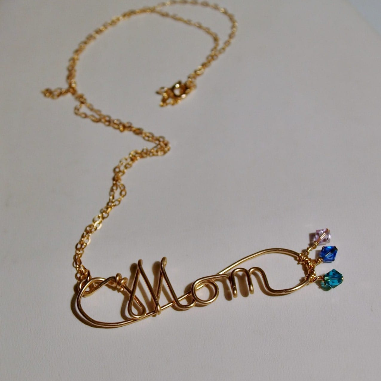 14k gold s necklace birthstone accents on