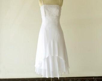 Tea Length Wedding Dress,Layered Chiffon Destination/Reception Bridal Dress Embroidery with Spaghetti Straps
