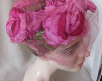 LAST CALL! Vintage Half Hat in Bright Peony Pink Roses