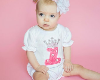 Birthday Princess Baby Romper with Crown Number and Name