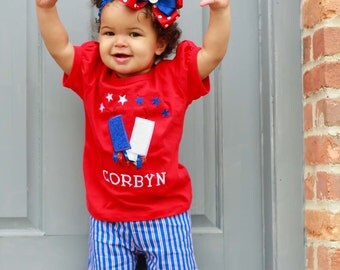 Girl 4th of July Fireworks Shirt with Embroidered Name
