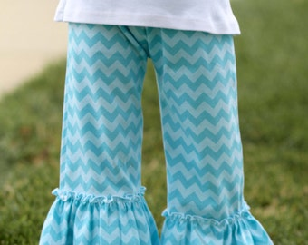 Girls Tonal Aqua Chevron Double Ruffle KNIT Pants