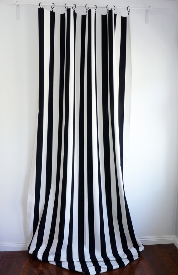SALE! Two Black and White Vertical Stripe Window Curtain Panels Custom ...