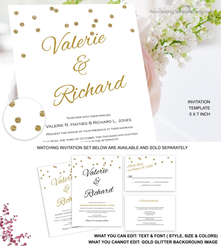 modern gold glitter confetti wedding invitation template. Black Bedroom Furniture Sets. Home Design Ideas