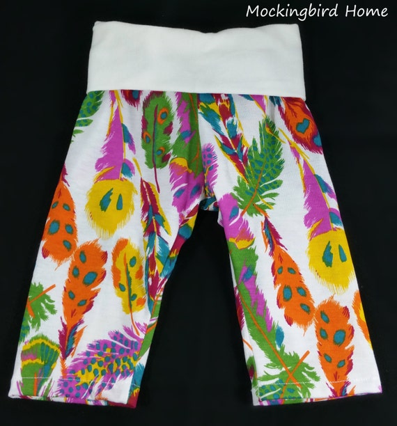 Baby yoga pants Multi color feather 3 6 by MockingbirdHome