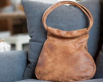 Sale!!! BROWN Leather tote bag, brown leather bag, premium distressed leather hobo bag,  leather bag, Handmade by Limor Galili
