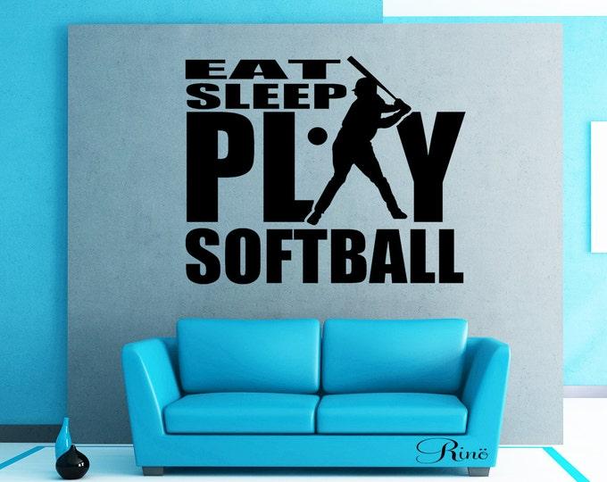 Eat sleep play softball Wall art vinyl Decal car window bumper sticker player kids teen bedroom home decor