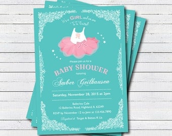 ballerina baby shower invitation baby girl shower invitation chalkboard turquoise teal pink