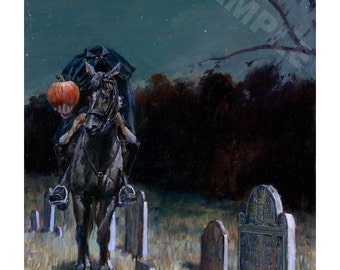 "11x14 ""In Nightly Quest"" Open Edition Print Headless Horseman Legend of Sleepy Hollow"