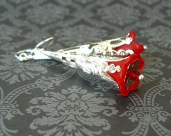 Red Flower Earrings, Vintage Inspired Long Dangles, Scarlet Lucite Flower and Bright Silver Earrings, Romantic Fairytale Jewelry