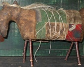 SALE Horse Primitive Old Prairie with vintage aged quilt Crows Roost Prims